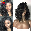 Fashion Short Bob Lace Front Wigs Glueless Black Wavy Synthetic Lace Front Wig for Black Women Heat Resistant Synthetic Wigs 7A