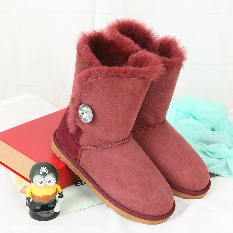 High quality snow boots 100% Australian natural sheep fur fashion snow boots warm shoes leather boots Limited special offer