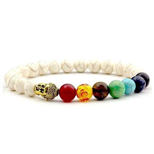 Men Chakra Jewelry Bracelet Female Bracelets Women White Natural Stone Mala Beads Yoga Meditation Fashion Chakras Womens Gifts