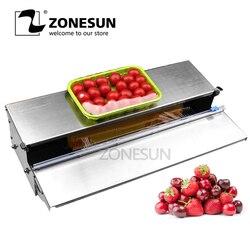ZONESUN Stainless Steel Cling Film Sealing Machine Food Fruit Vegetable Fresh Film Wrapper Cling Film Sealer Packaging