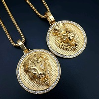 New Hip Hop Stainless Steel Jewelry Iced Out Gold Fashion Bling Lion Head Pendant Men Necklace