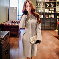 Original 2016 Brand Women Jacket Autumn Winter Plus Size Pearls V Collar Slim Elegant Casual Long Wool Coat Female Wholesale