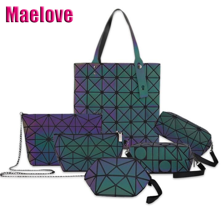 381aa9aef7bb HOT Maelove Luminous Bag Women Geometry Handbag Designer Folding tote  Travel Make Up Bag small purse