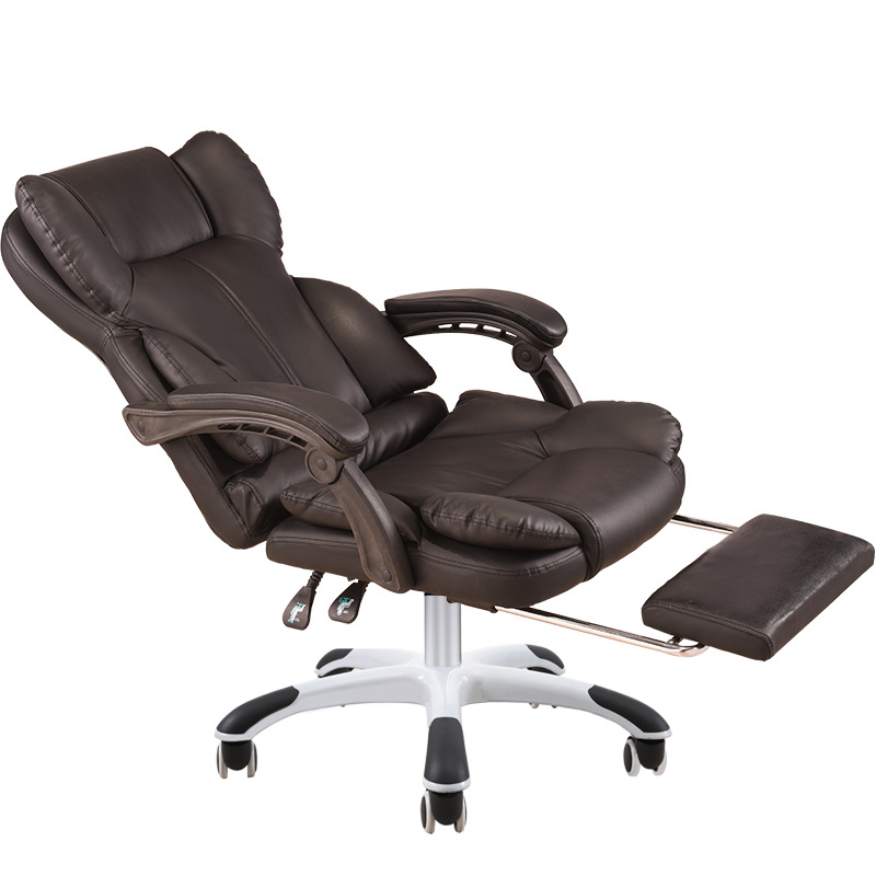 Reclining Thicken Office Chair Sumptuous Lifted Swivel Chair With Footrest Massage Chair Creative Stitching PU Computer Chair