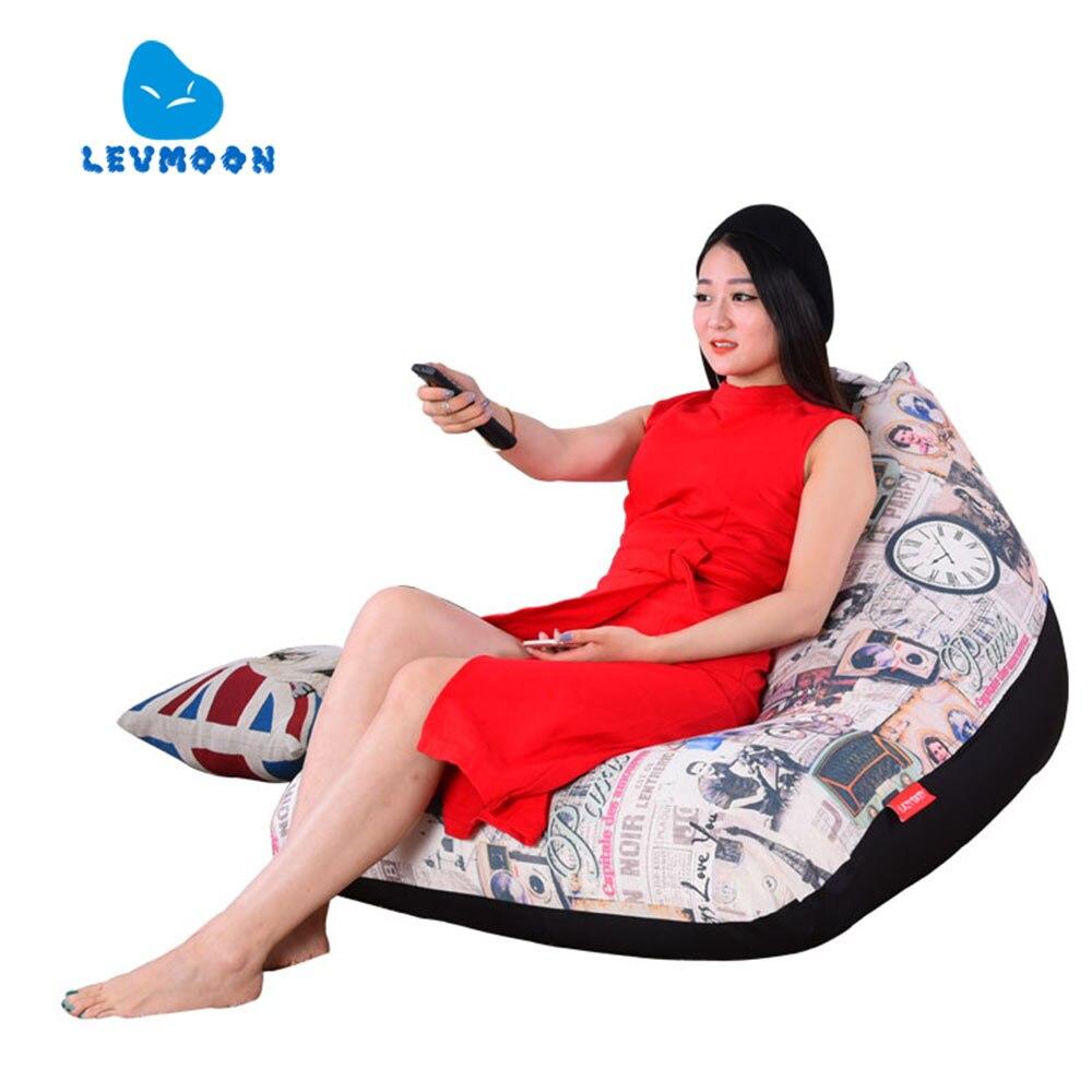 LEVMOON Beanbag Cadeira Do Sofá Estilo Francês Zac Conforto Do Assento do Saco de Feijão Tampa de Cama Sem Enchimento De Algodão Interior Beanbags Cadeira de Salão