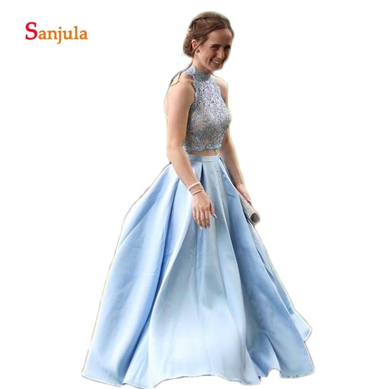 High Neck Two Piece   Prom     Dresses   Blue Satin A-Line   Prom   Gowns Beaded 2 Pieces Graduation Gowns vestido de baile longo D1099