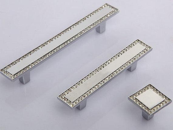 Square Rhinestone Drawer Pull / Glass Crystal Dresser Pulls Handles Cabinet Knobs / Handle Bling Silver Clear rhinestone crystal kitchen cabinet door knobs handle drawer handles dresser pulls shabby chic glass knobs silver white clear
