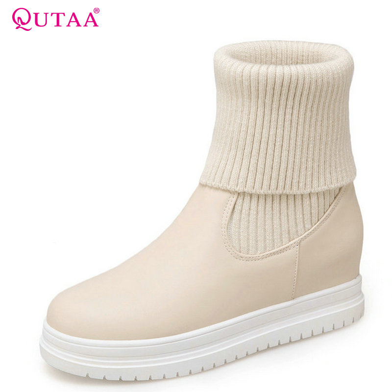 QUTAA 2018 Women Mid Calf Boots Solid Beige Pu Leather Fashion Slip on Keep Warmming Spring and Autumn Women Boots Size  34-43 double buckle cross straps mid calf boots
