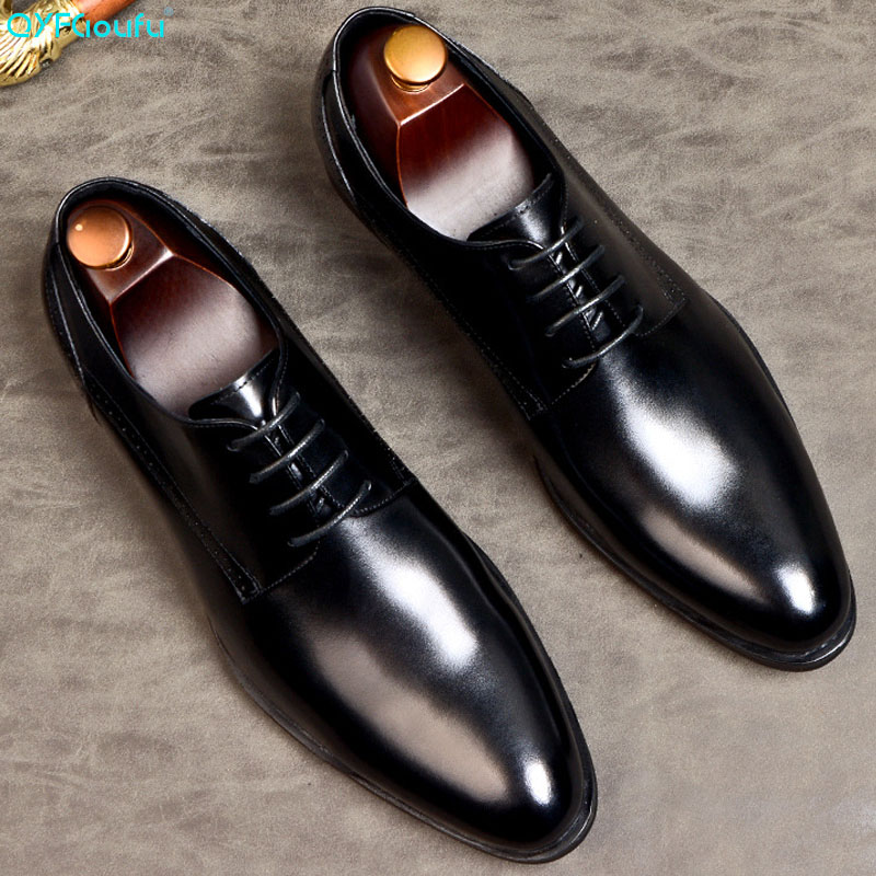 QYFCIOUFU Black Wine Red Oxford Wedding Office Dress Shoes For Men Genuine Cow Leather Mens Shoes Formal Luxury Designer Shoes
