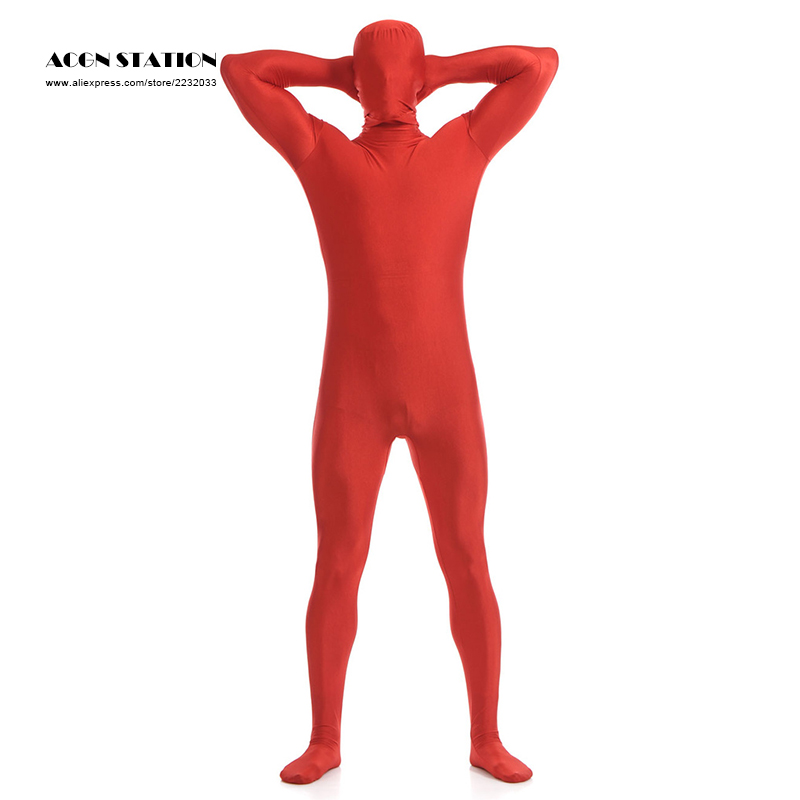 24hr ship out 2018  Red Lycra Spandex Zentai Suit for Men Halloween Jumpsuit Romper Rush order/Same day shipping