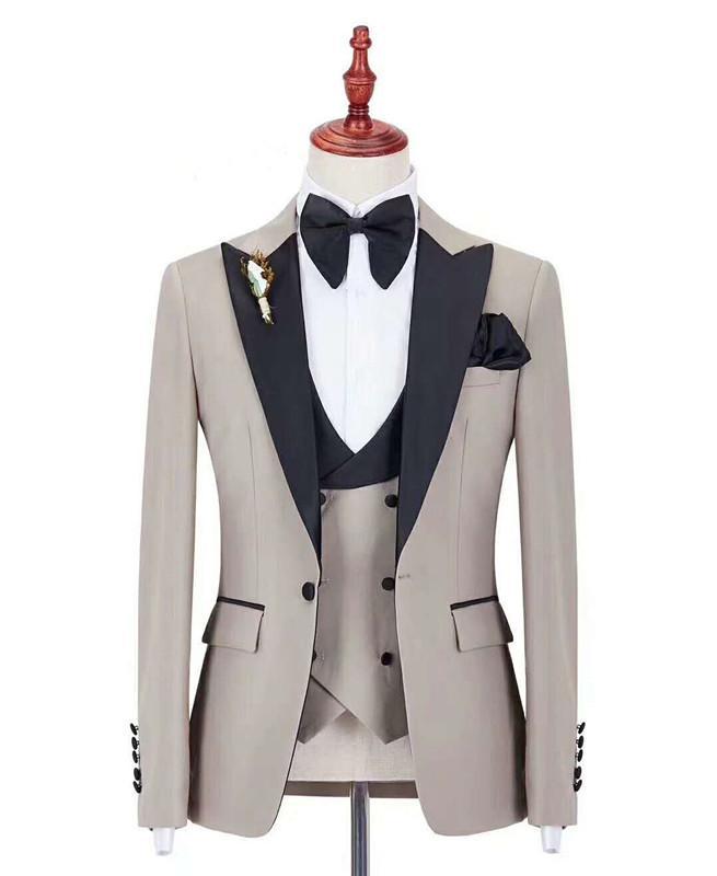 Italian Fashion Embroidery Men Suit For Wedding 3pieces Jacket Pants Vest Tie Masculino Trajes De Hombre