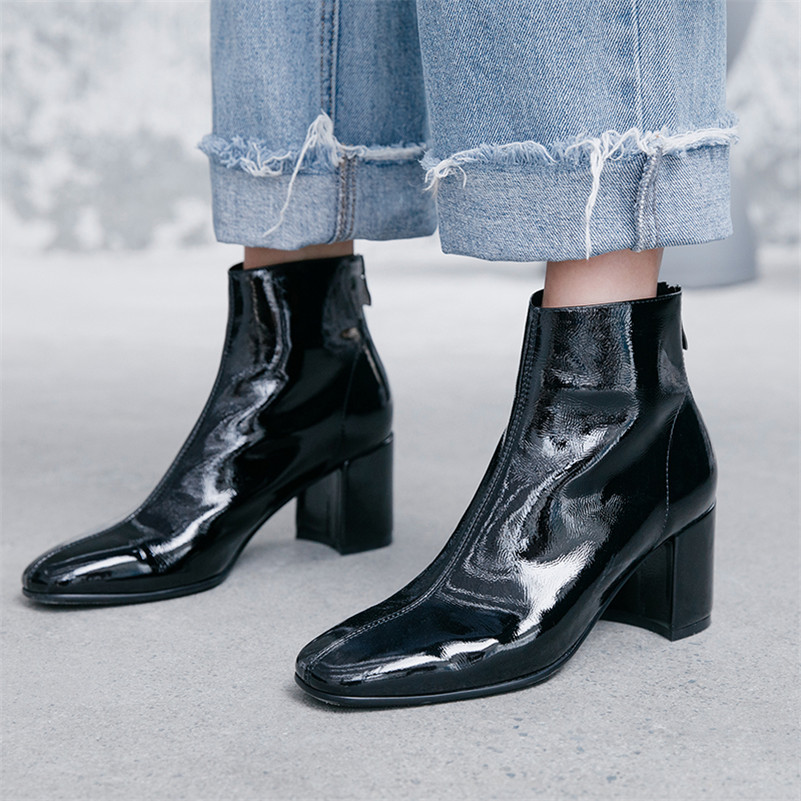 Image 4 - FEDONAS Brand Winter Women Ankle Boots Fashion Square Toe High Heels Genuine Cow Patent Leather Chelsea Boots Party Shoes Woman-in Ankle Boots from Shoes