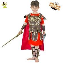 Onore Cavaliere Rosso Costumi Per Bambini di Brave Warrior Leader Gioco di Ruolo Set con il Capo Halloween Medievale Soldati di Cosplay del Vestito Operato