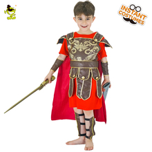 Trajes de caballero rojo de Honor para niños, conjuntos de juego de rol de Guerrero Brave, con capa, soldados medievales de Halloween, Cosplay, vestido de fantasía