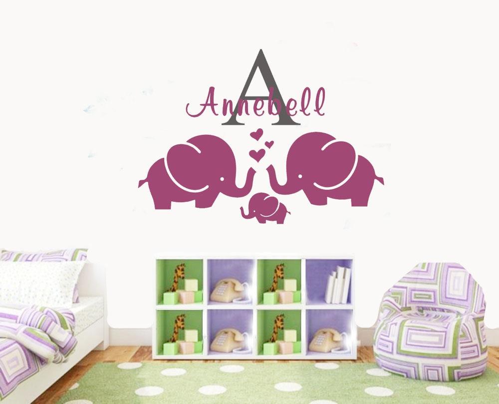 Cartoon Personalisierte Name Elephant Kinderzimmer Wandtattoo ...