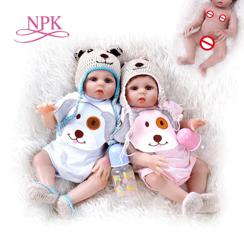 48CM bebe doll reborn toddler girl and boy doll sweet twins full body soft silicone realistic baby Bath toy waterproof(China)