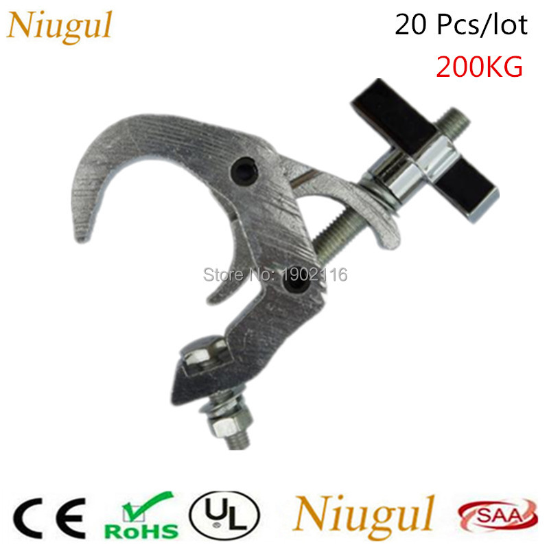 20pcs High quality Aluminum stage lights hook, bearing the weight of 200kg big type stage truss fastener for 40-70mm pipe clamp the quality of accreditation standards for distance learning