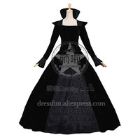 Victorian Lolita Renaissance Regal Queen Gothic Lolita Dress Black With Tall Stand Collar And Floral Decorated Charming Fashion
