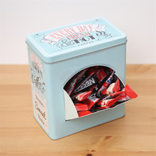 Nostalgic Iron Storage Box Coffee Candy Snack Metal Can with Picking Window Home Office Desktop Storage Jar