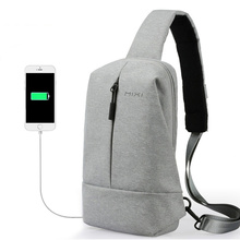 Mixi Male USB Charging Chest Bag for Young Man Crossbody Bag for College Students Messenger Bag Fit 9.7 Inch Ipad M2078