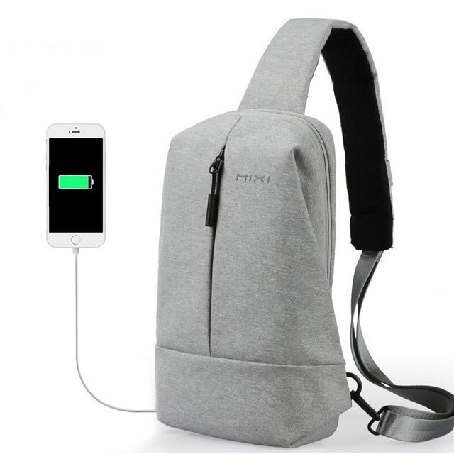 Mixi Masculino Carregamento USB Saco de Peito para o Jovem Homem Crossbody Bag para Estudantes Universitários Viajar 2019 Fit 9.7 Polegada Ipad saco do mensageiro