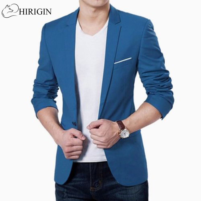 Korean Fashion Slim Fit Cotton Blazer Mens Suit Jacket Black Blue Plus Size M To 3XL Male Blazers Mens Coat Wedding Wear