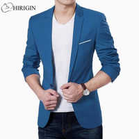 Korean fashion slim fit cotton blazer Mens Suit Jacket black blue plus size M to 3XL Male blazers Mens coat Wedding Wear
