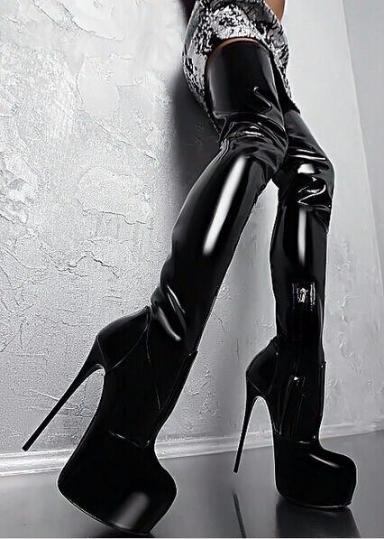 Cuisse Aiguille 16 Glamour Femelle Gladiateur As Femmes Cm Superbe Zip Rond Discothèque forme Plate Côté Picture Bout Talon Haute Bottes tX1xw