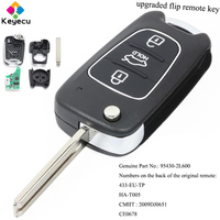 KEYECU Upgraded Keyless Entry Flip Remote Control Car Key 433MHz & ID46 Chip FOB for Hyundai I30 2007 2012 P/N: 95430 2L600