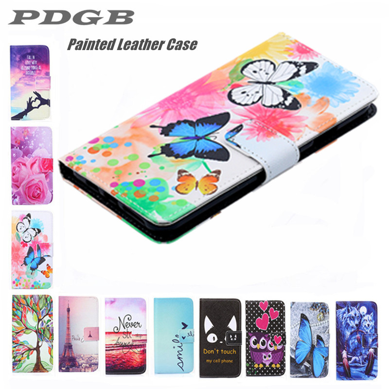 PDGB Painted Wallet Leather <font><b>Case</b></font> for Huawei P30 P20 Pro P10 P8 <font><b>Lite</b></font> 2017 <font><b>Mate</b></font> <font><b>10</b></font> 20 Color Flower butterfly Wolf Cover <font><b>Flip</b></font> <font><b>Case</b></font> image