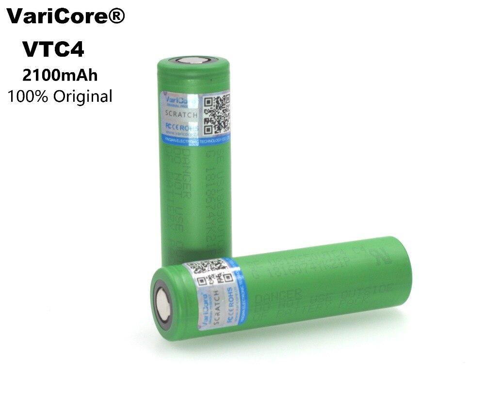 VariCore 100% Original 3.6V 18650 VTC4 2100mAh High drain 30A battery For Sony US18650VTC4 Electronic cigarettes 3pcs 100% original varicore 18650 2500mah li ion rechargeable battery 3 7v power electronic cigarette batteries 20a discharge