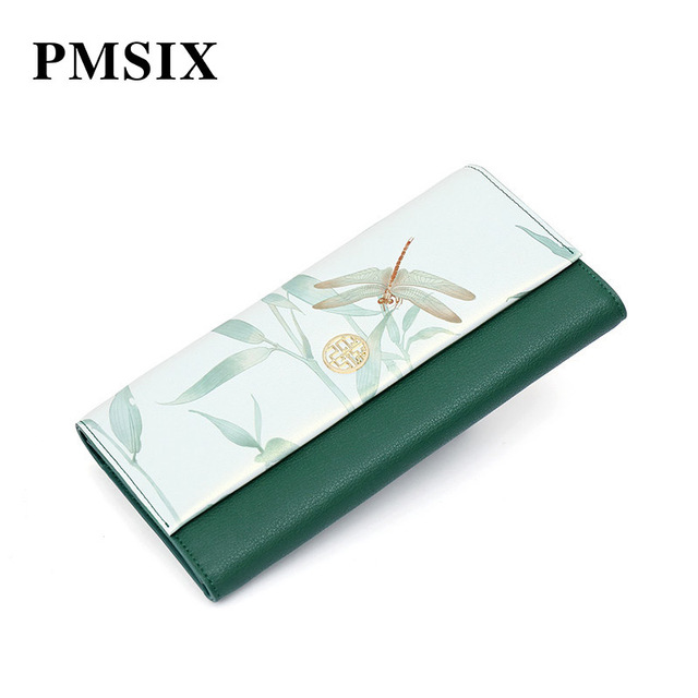 Pmsix 2019 Vintage Floral Printing Women's Clutch Wallet Hasp Fashion Female Purse Elegant to Carry Evening Clutch Bags