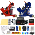 Solong Tattoo Pro Tattoo Kit 2 Rorary Tattoo Machine Gun Power Supply 1 Practice Skin Dual-sided Re-usable One Set TK202-34