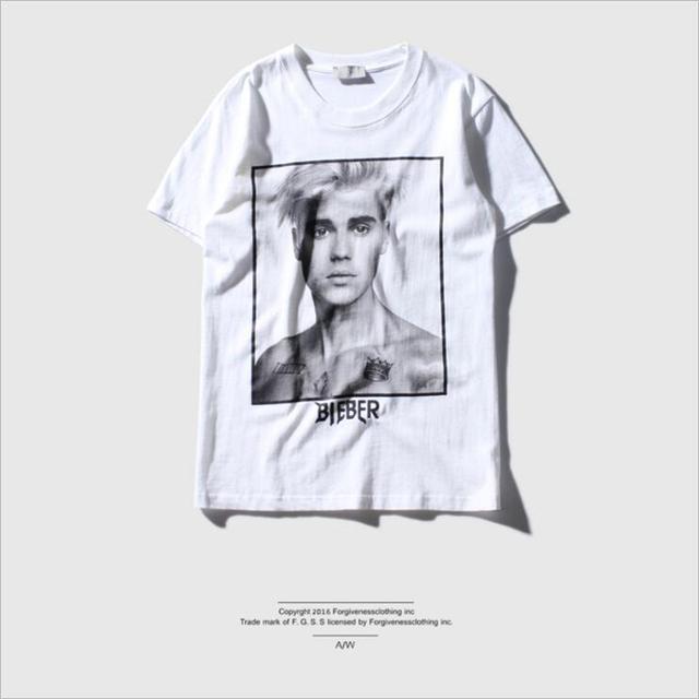 Verano justin bieber camiseta Streetwear hombres Propósito Gira Gira Mundial retrato de impresión camisetas de algodón de alta calidad de alta definición