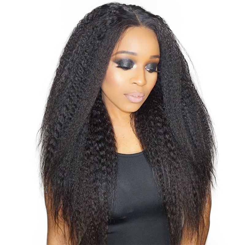 Kinky Straight Wig 250% Density Lace Front Human Hair Wigs For Women Brazilian Glueless Natural Black Full Ends Ever Beauty Remy