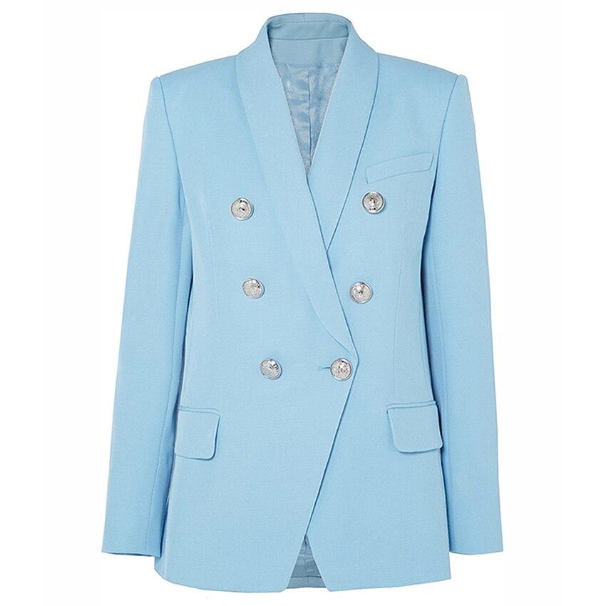 HIGH QUALITY Newest Fashion 2020 Designer Blazer Women's Shawl Collar Double Breasted Metal Lion Buttons Long Blazer Jacket