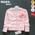 new 2014 Spring autumn girls sweater baby cotton thread long-sleeve thin sweater baby clothing knitting shirt cardigan baby coat