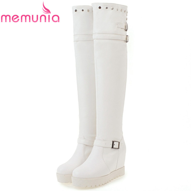 MEMUNIA Over the knee boots fashion punk motorcycle boots for women platform shoes woman height increasing big size 34-43 memunia big size 34 43 over the knee boots for women fashion shoes woman party pu platform boots zip high heels boots female