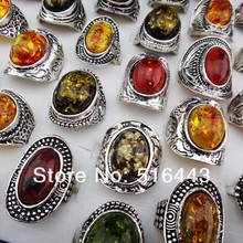 Hot Sale 10pcs Mix large Vintage Amber Antique Silver Retro Womens Mens Rings Wholesale Jewelry Lots Free Shipping A-914