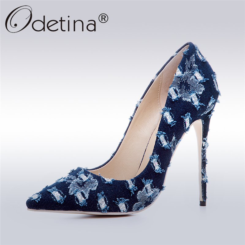 Odetina 2017 New Fashion Denim Pumps for Ladies Extreme High Heels 12 Cm Sexy Women Party Shoes Stiletto Pointed-toe Big Size 43 odetina 2017 new women 12 cm gradient heels slip on extreme high heel stiletto pumps sexy party shoes pointed toe big size 33 43