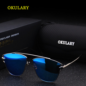 Image 4 - 2020 Women Polarized Sunglasses Blue/Pink/Silver Lens UV400 Metal Frame Lady Sunglasses With Box