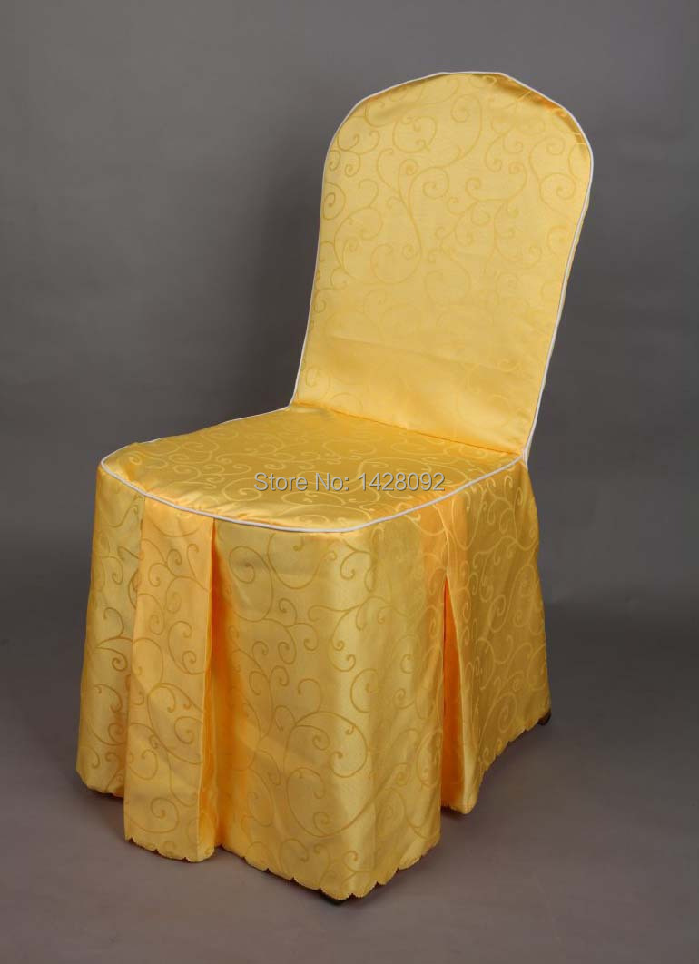 Custom Banquet Chair Covers Dining Room Round Top ᗚcustom Made Moq 30pcs Yellow Jacquard Cover Wedding