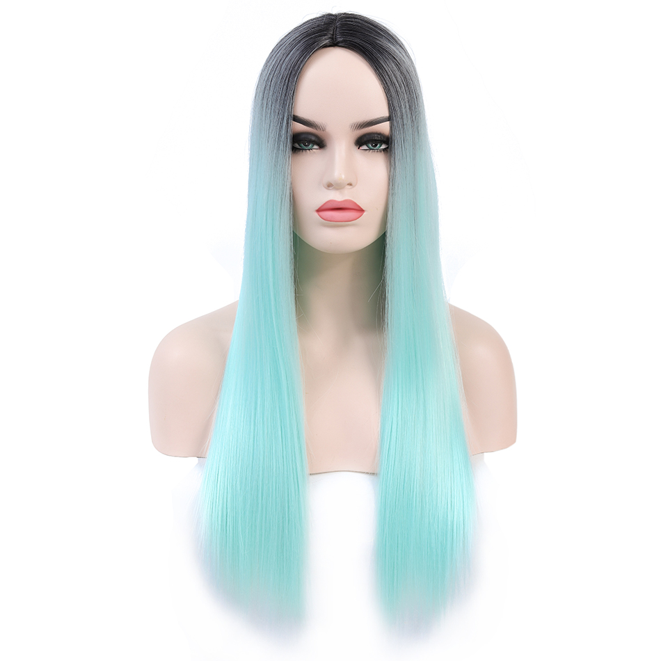 Rosa Star Long Straight Synthetic Wigs For Women Middle Part Heat Resistant Fiber Cosplay Costume Wig 8 Color