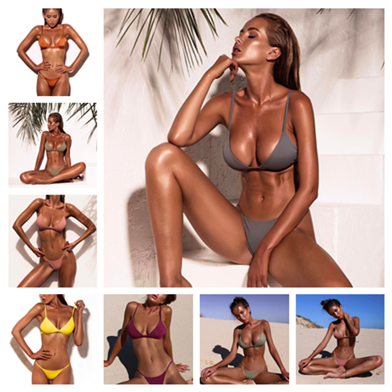 XREOUGA New Arrival Pink Bandage Bikini Sets Swimwear Women Sexy Thong Padded Maillot de Bain Orange Tankini Brazilian Push Up