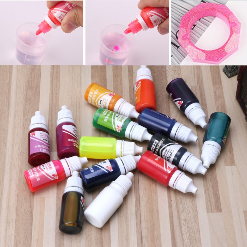 15PCS/SET 10ml Epoxy UV Resin Colorant Jewelry Liquid Pigment Bath Bomb Soap Dye 15 Colors DIY Jewelry Tools