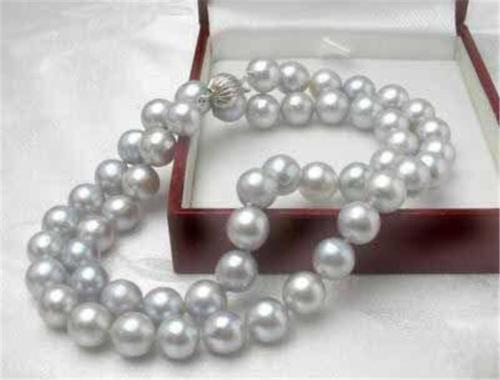 10X10 jewerly free shipping New Rare! 8MM Gray Akoya Cultured Shell Pearl Necklace 18