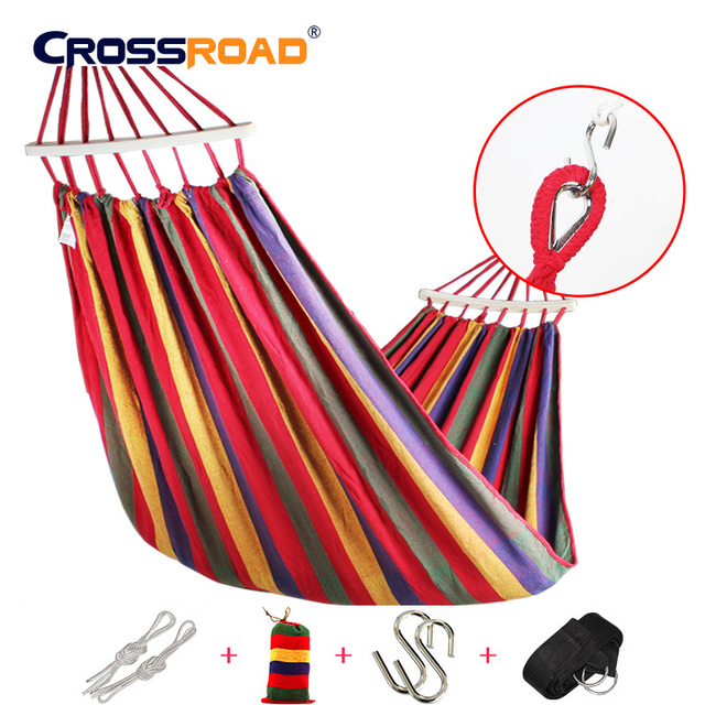 200x150cm  with bent stickHigh Quality Hammock double Canvas Portable Outdoor Camping Garden with belt
