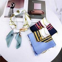 Fashion Square Scarf Neckerchief Hair For Women Geometric Print Silk Satin Hijab 70*70Cm Small Headband Scarves Ladies