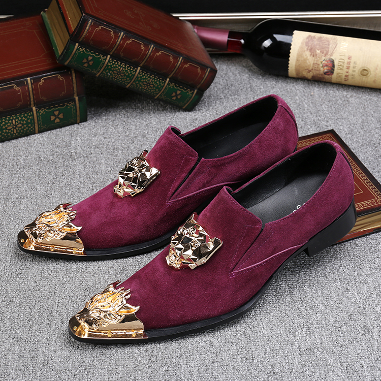 b8004d064542 2017 New Fashion Metal Pointed Toe Flats Shoes Men Luxury Loafers Casual  Shoes Big Size US12 Outwear Slip On Party Driving Shoes Mens
