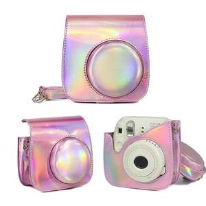 Image 4 - Dla Fujifilm Instax Mini 8/9 Film natychmiastowy futerał na aparat torba, PU skórzany pokrowiec z paskiem na ramię